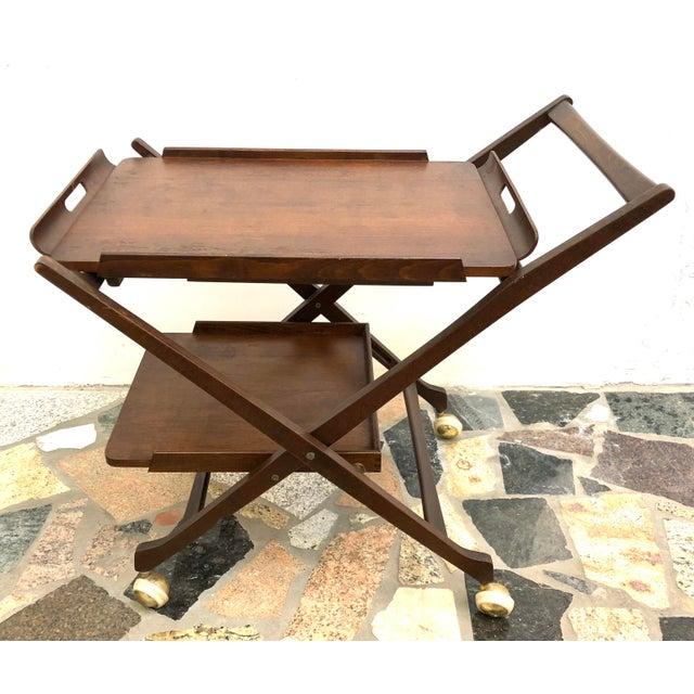 Danish Modern Mid-Century Modern Danish Style Folding Rolling Bar / Tea Cart For Sale - Image 3 of 13