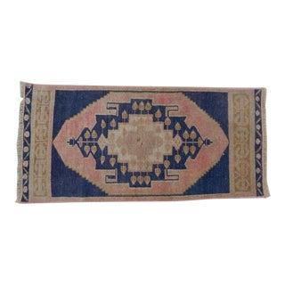 1980s Vintage Blue Turkish Area Rug - 1′5″ × 2′11″ For Sale