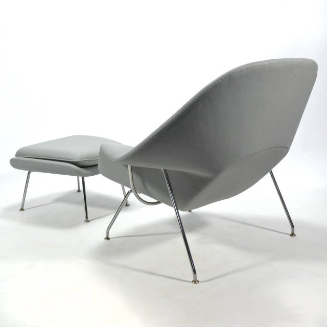 Eero Saarinen Womb Chair and Ottoman in Leather by Knoll - Image 9 of 11