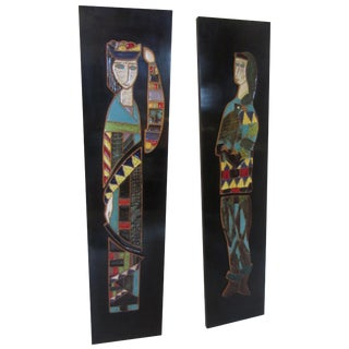Harris Strong King and Queen Tiles on Black Lacquered Frame For Sale