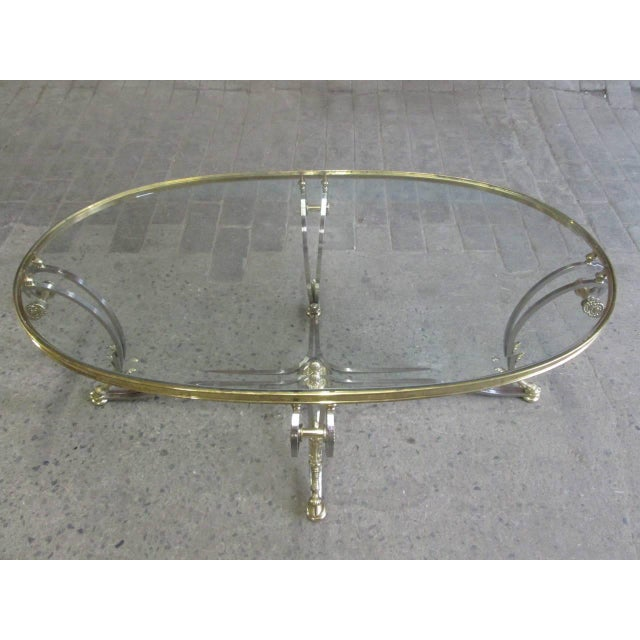 Metal French Polished Steel and Brass Coffee Table For Sale - Image 7 of 9