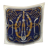 "Image of Hermes ""Gaucho Par Hermes Paris"" Silk Scarf 70 X 70 For Sale"