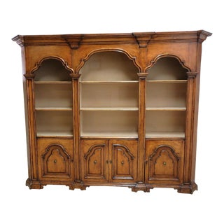 Vintage Italian Monumental 3 Piece Custom Bookcase China Cabinet Hutch For Sale