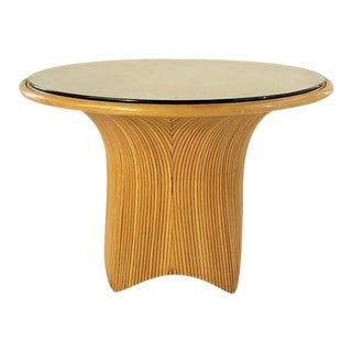 Round Pencil Reed Bamboo Game Table With Glass Top, C. 1970