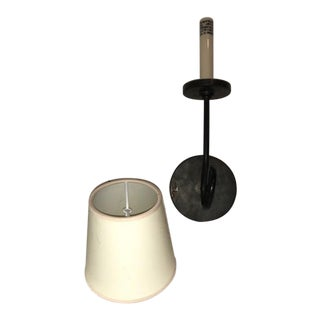 Visual Comfort Symmetric Twist Single Sconce in Bronze With Natural Paper Shade For Sale