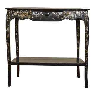 19th Century French Colonial Mother of Pearl Table For Sale