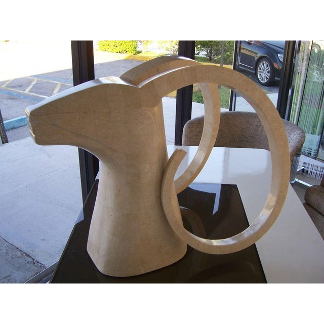 Large Rams Head Sculpture in Travertine Patchwork - Image 2 of 3