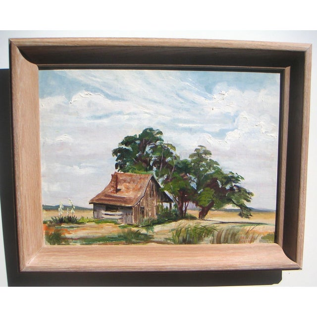 "A tree-shaded shack in the west Texas hills by Arleen Alice Meister Huseby, signed lower right, 1970s. Image, 16""L x 12""H...."