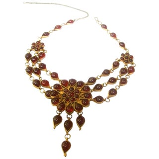 Exotic Cranberry Glass Cabochon Choker Necklace For Sale
