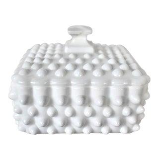 Vintage Lidded Hobnail Milk Glass Box For Sale