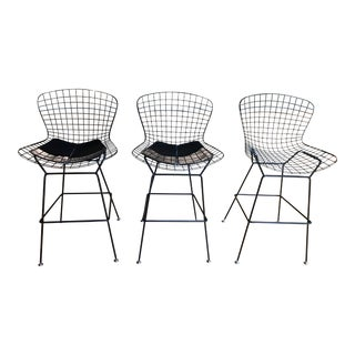 Mid-Century Modern Inspired Wire Bar Stools - Set of 3 For Sale