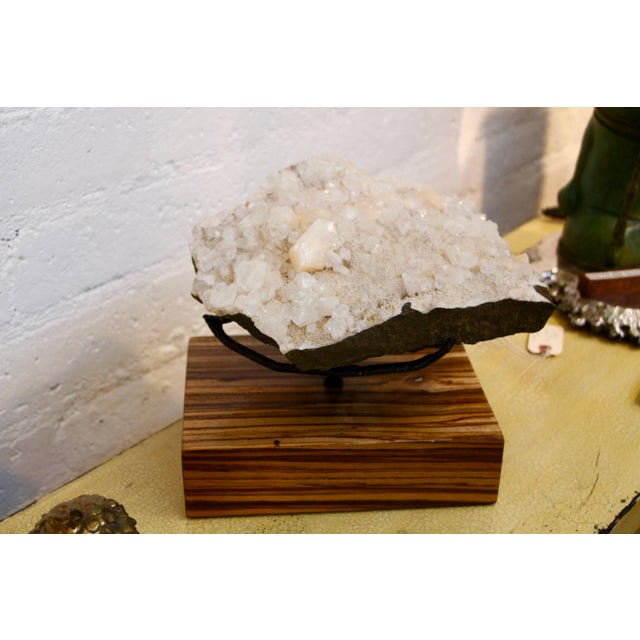 Beautiful Piece of Quartz Crystal Mounted on a Custom Solid Zebra Wood Base For Sale - Image 4 of 6