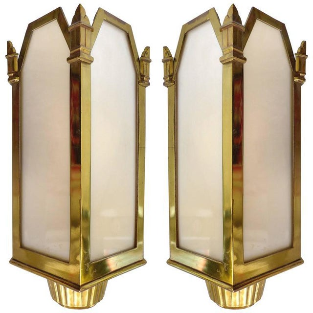 1930s American Art Deco Bronze and Glass Theater Sconces - A Pair For Sale - Image 10 of 10