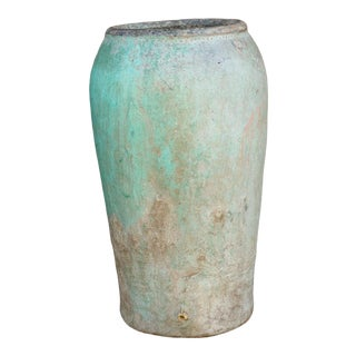 Antique Persian Aqua Green Clay Pot For Sale