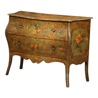 18th Century Italian Carved Bombe Painted Two-Drawer Venetian Commode Chest For Sale