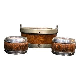 English Regency Wooden Metal Bound Bowls Treenware - Set of 3 For Sale