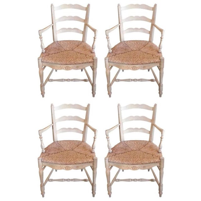 Four 19th Century French Painted Pine Provençal Arm-Chairs. For Sale - Image 12 of 12