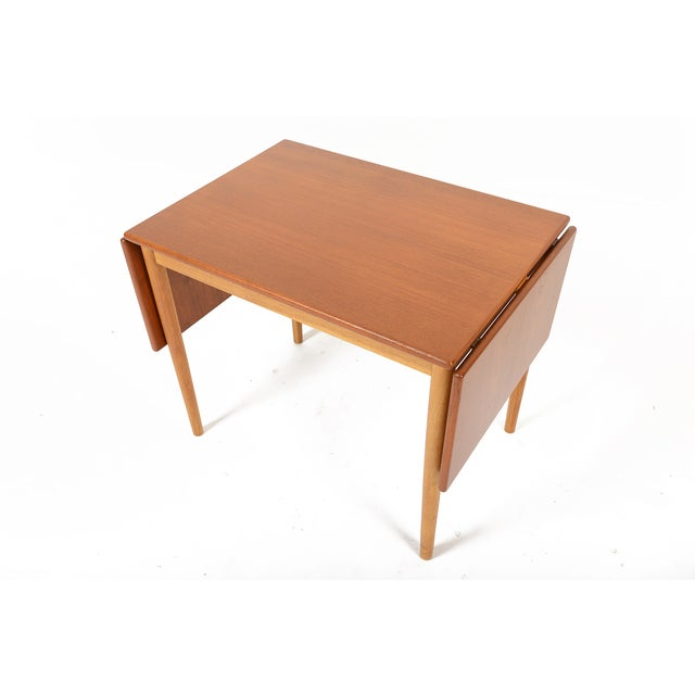 Borge Mogensen Teak & Oak Drop Leaf Coffee Table For Sale - Image 5 of 9
