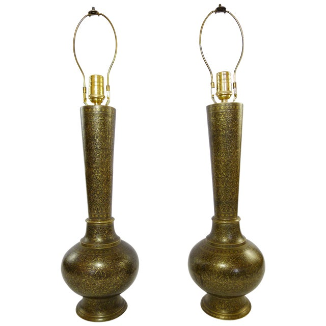 Vintage Indian Hand Painted Brass Lamps - A Pair - Image 1 of 5