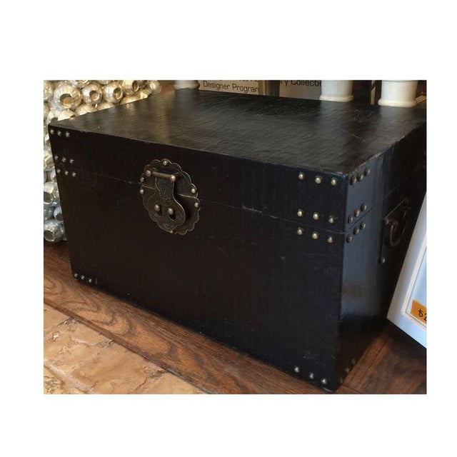 Asian Chinoiserie Black Traveler Trunk - Image 4 of 4