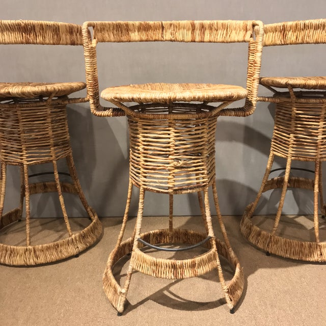 Gold Nautical Cane Woven Bar Stools - Set of 3 For Sale - Image 8 of 11