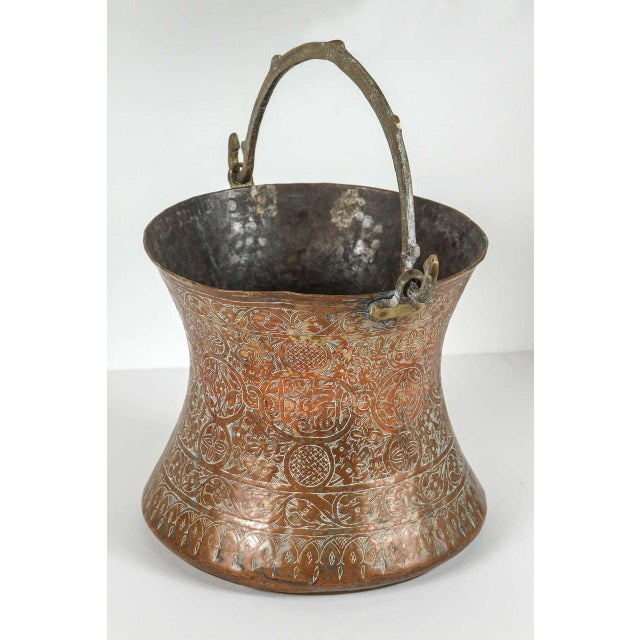 Large 19th Century Persian Copper Bucket With Handle For Sale - Image 9 of 9
