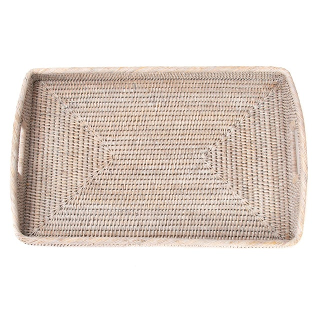 Artifacts Rattan Rectangular Tray With Cutout Handles For Sale - Image 4 of 6