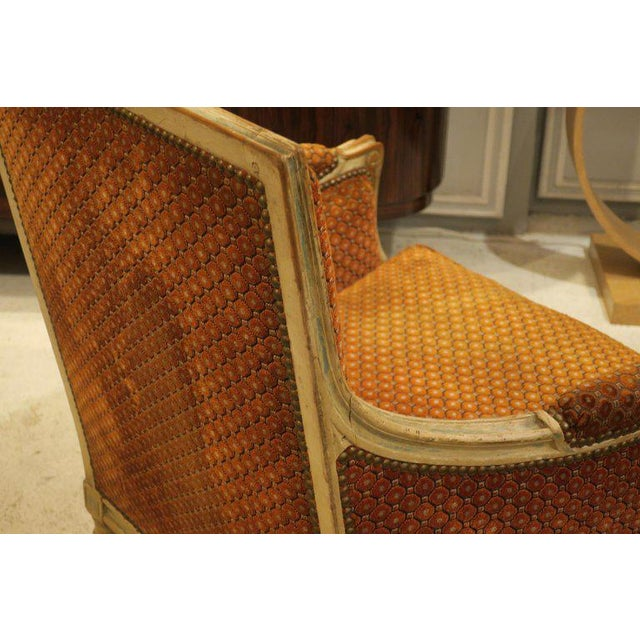 Orange Pair of French Late 18th Century Louis XVI Bergères For Sale - Image 8 of 10