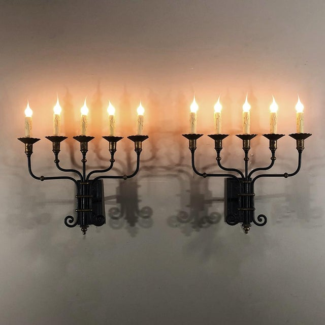 Pair Mid-Century Hand Forged Wrought Iron Country French Iron Sconces With Bronze Accents For Sale - Image 5 of 12