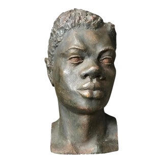 1960s Contemporary Plaster Male Head Sculpture