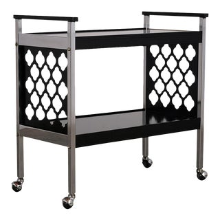 Middle Eastern Design Infused Black & Chrome Bar Cart For Sale