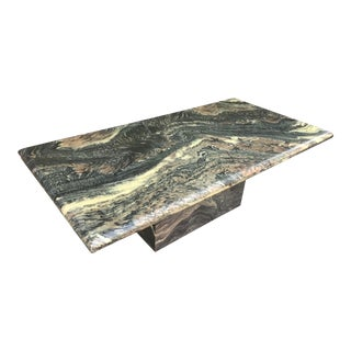 1970s Organic Modern Solid Black & Cream Marble Coffee Table For Sale