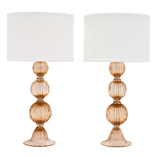 Murano Glass Peach Lamps For Sale