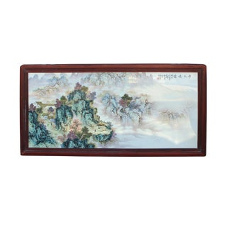 Chinese Rectangular Rosewood Porcelain Mountain Water Scenery Wall Plaque For Sale