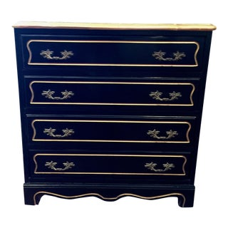 1960's Hollywood Regency Black Lacquer Chest For Sale
