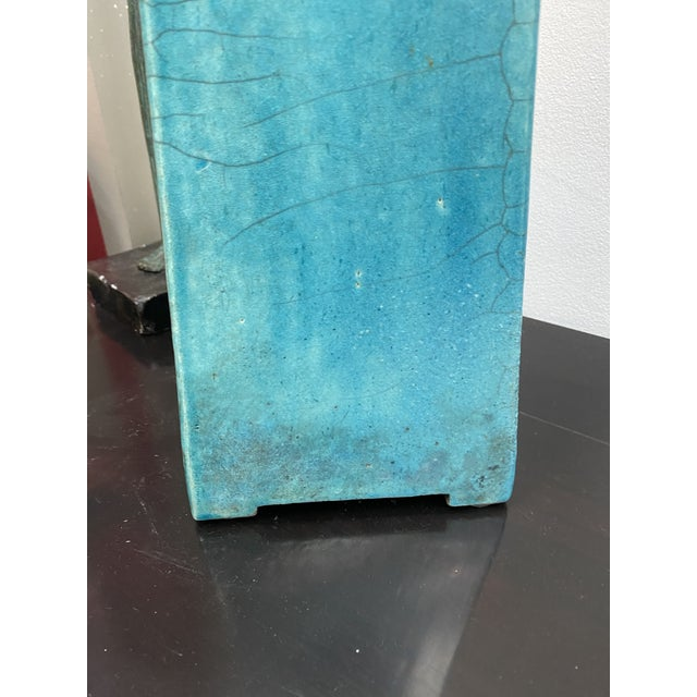 Large Vintage Turquoise James Mont Style Raku Pottery Decanter For Sale - Image 11 of 12