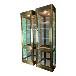 Pair of Mastercraft Brass and Glass Vitrine Display Cabinets For Sale