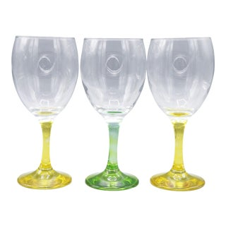 1970s Mid-Century Handblown Crystal Wine Glasses - Set of 3 For Sale