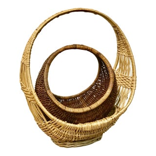 Nesting Gondola Woven Wicker Rattan Baskets - a Pair For Sale