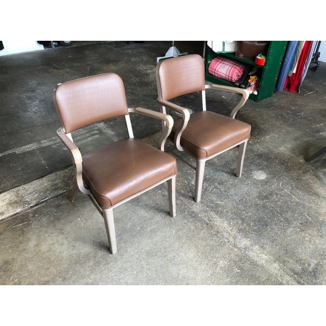 Mid-Century Modern Steelcase Mid Century Industrial Arm Chairs - a Pair For Sale - Image 3 of 9