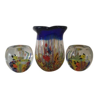 1970s Murano Art Glass Fish in Aquarium Sommerso Technique Vase and Candlestick Set of 3 For Sale