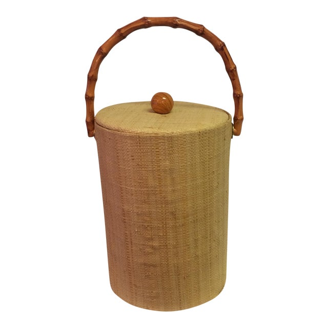 Rattan & Grass Cloth Ice Bucket For Sale