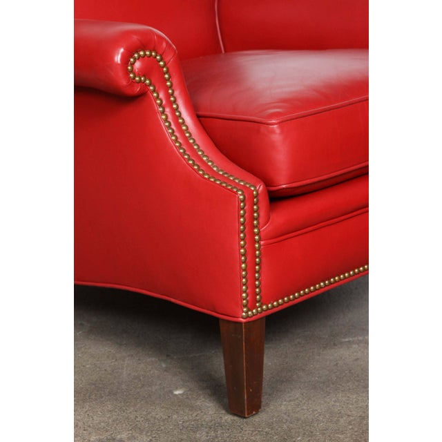Metal Pair of Red Leather French Club Armchairs For Sale - Image 7 of 12