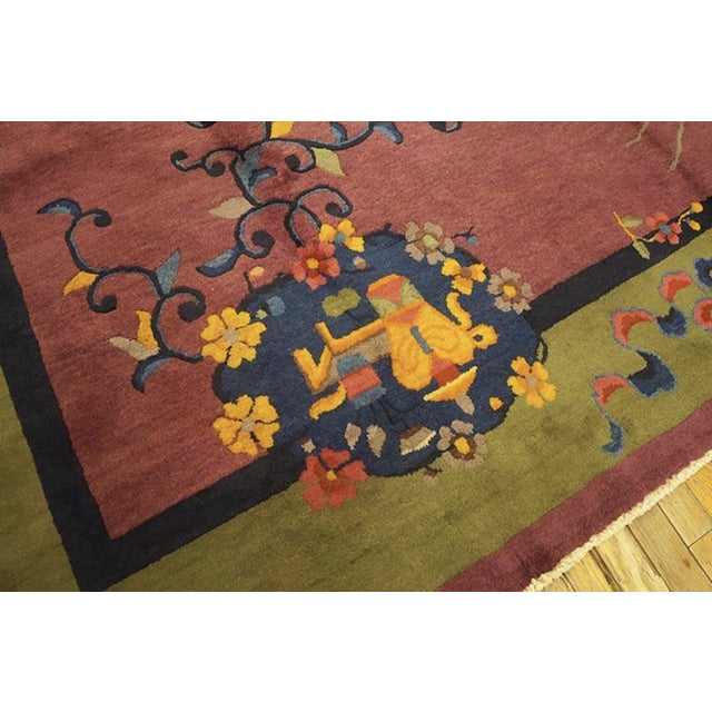 """Antique Chinese Art Deco Rugs 9'2"""" X 11'8"""" For Sale - Image 4 of 11"""