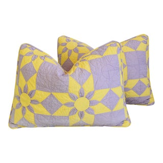 "Boho Chic Farmhouse American Patchwork Feather/Down Pillows 24"" X 18"" - Pair For Sale"