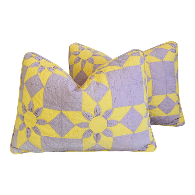 """Boho Chic Farmhouse Americana Patchwork Feather/Down Pillows 24"""" X 18"""" - Pair For Sale"""