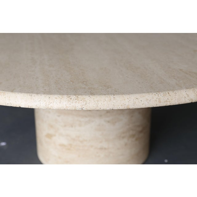 Mid Century Round Travertine Coffee Table - Image 7 of 9