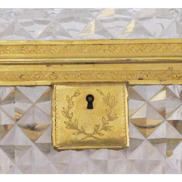 Gold An Exquisite Antique Baccarat Diamond-Cut Crystal Vanity Box With Dore Bronze Mounts For Sale - Image 8 of 9
