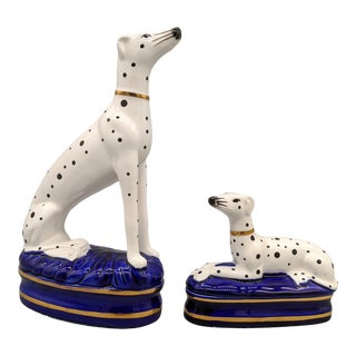 Vintage Fitz and Floyd Staffordshire Style Dalmatian Dog Figurines - a Pair For Sale