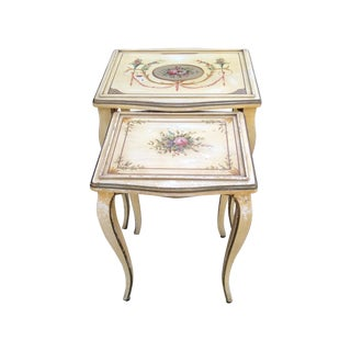 Hand Painted French Floral Side Tables - S/2